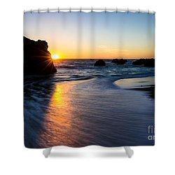 Peeking Sun Shower Curtain by CML Brown