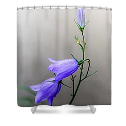 Blue Bells Peeking Through The Mist Shower Curtain