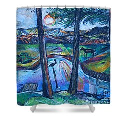 Pelican And Moose In Landscape Shower Curtain by Stan Esson