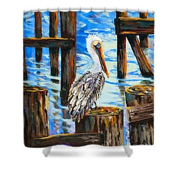 Pelican And Pilings Shower Curtain by Dianne Parks