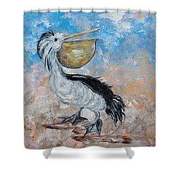 Shower Curtain featuring the painting Pelican Beach Walk - Impressionist by Eloise Schneider