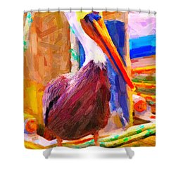 Pelican On The Dock Shower Curtain