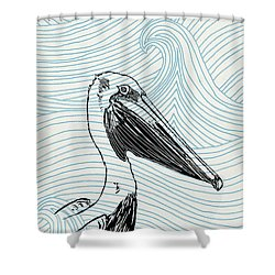 Pelican On Waves Shower Curtain