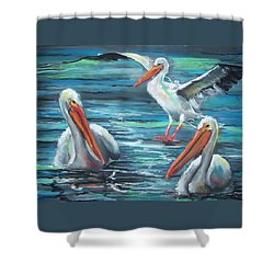 Shower Curtain featuring the pastel Pelican Profile by Peter Suhocke