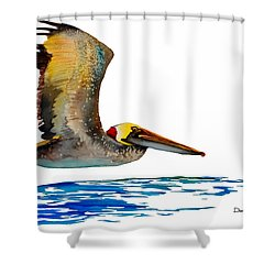Da137 Pelican Over Water By Daniel Adams Shower Curtain