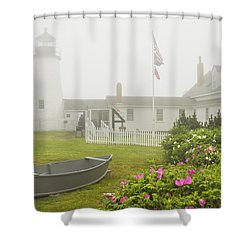 Pemaquid Point Lighthouse In Fog Maine Prints Shower Curtain