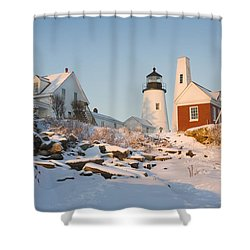 Pemaquid Point Lighthouse Winter In Maine  Shower Curtain by Keith Webber Jr