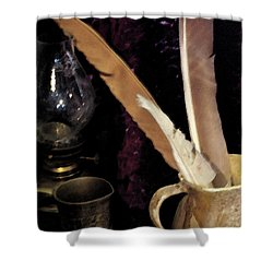 Shower Curtain featuring the photograph Pen Your Thoughts by Linda Shafer