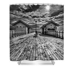 Penarth Pier 2 Monochrome Shower Curtain by Steve Purnell