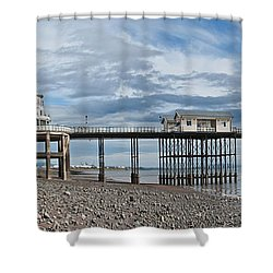 Penarth Pier Panorama 1 Shower Curtain by Steve Purnell
