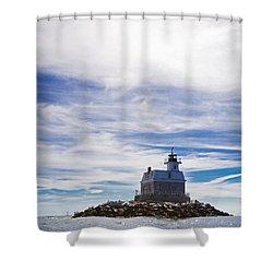 Penfield Reef Lighthouse Fairfield Connecticut Shower Curtain by Stephanie McDowell