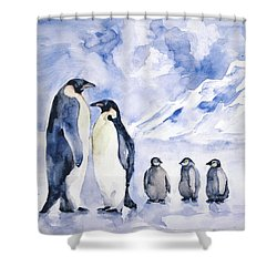 Shower Curtain featuring the painting Penguin Family by Faruk Koksal