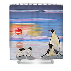 Penguin Family Shower Curtain by Phyllis Kaltenbach