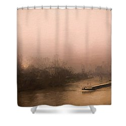 Peniche Sur La Riviere Main - Francfort  Shower Curtain by Jean-Pierre Ducondi