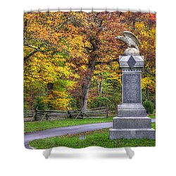 Pennsylvania At Gettysburg - 115th Pa Volunteer Infantry De Trobriand Avenue Autumn Shower Curtain by Michael Mazaika