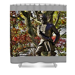 Pennsylvania At Gettysburg - Col Strong Vincent 83rd Pa Volunteer Infantry Close-2b Little Round Top Shower Curtain by Michael Mazaika
