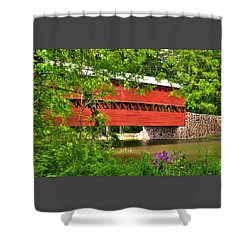 Pennsylvania Country Roads - Sachs Covered Bridge Over Marsh Creek-3b - Shade Of Spring Adams County Shower Curtain
