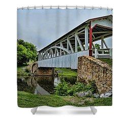Pennsylvania Covered Bridge Shower Curtain by Kathy Churchman
