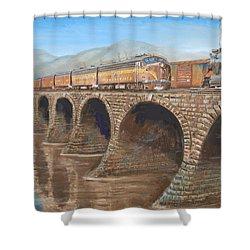 Pennsylvania Railroad On The Rockville Bridge Shower Curtain by Christopher Jenkins