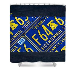 Pennsylvania State License Plate Map Shower Curtain by Design Turnpike