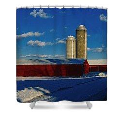 Pennsylvania Winter Red Barn  Shower Curtain by David Dehner