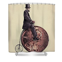 Penny Farthing Shower Curtain by Eric Fan