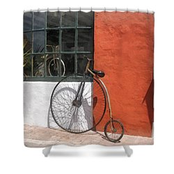 Penny-farthing In Front Of Bike Shop Shower Curtain by Susan Savad
