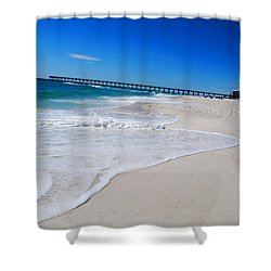 Shower Curtain featuring the photograph Pensacola Peir by Linda Mesibov
