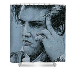 Pensive Elvis Shower Curtain by Rob De Vries