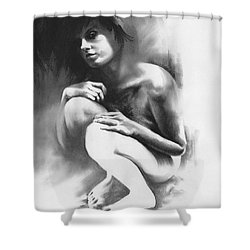 Shower Curtain featuring the drawing Pensive by Paul Davenport