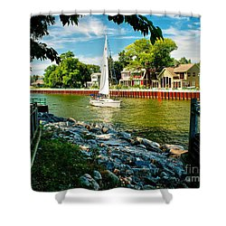 Pentwater Channel Michigan Shower Curtain by Nick Zelinsky