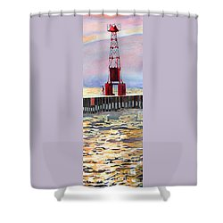 Pentwater South Pier Shower Curtain by LeAnne Sowa