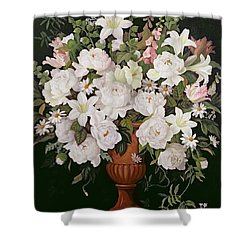 Peonies And Wisteria Shower Curtain by Lizzie Riches