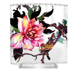 Peony And Birds Shower Curtain
