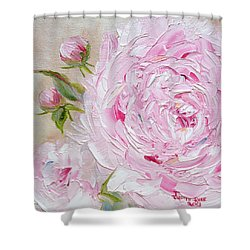 Shower Curtain featuring the painting Peony by Judith Rhue