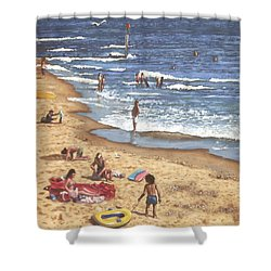 people on Bournemouth beach Blue Sea Shower Curtain by Martin Davey