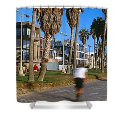People Riding Bicycles Near A Beach Shower Curtain by Panoramic Images