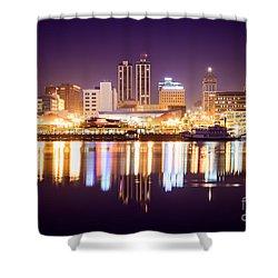 Peoria Illinois At Night Downtown Skyline Shower Curtain by Paul Velgos