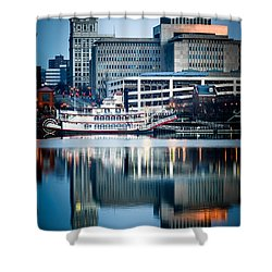 Peoria Illinois Cityscape And Riverboat Shower Curtain by Paul Velgos