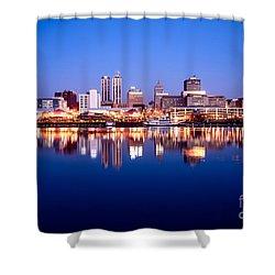 Peoria Illinois Skyline At Night Shower Curtain by Paul Velgos