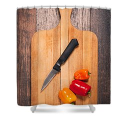 Peppers And Knife On Cutting Board Shower Curtain by Sharon Dominick