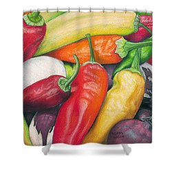 Peppers And Onions Shower Curtain