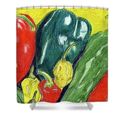 Shower Curtain featuring the painting Peppers by Linda Feinberg