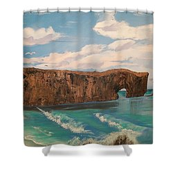 Shower Curtain featuring the painting Perce Rock by Sharon Duguay