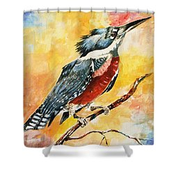 Perched Kingfisher Shower Curtain by Al Brown