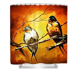 Perched Swallows Shower Curtain