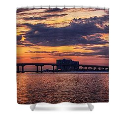 Perdido Bridge Sunrise Shower Curtain by Michael Thomas
