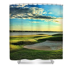 Perfect Golf Sunset Shower Curtain by Reid Callaway
