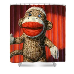 Performing Sock Monkey Shower Curtain by James W Johnson