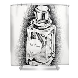 Shower Curtain featuring the drawing Perfume Bottle by Vizual Studio